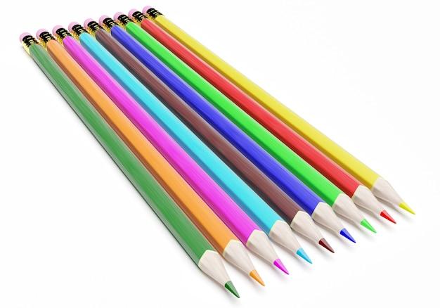3d цветные карандаши, изолированные на белом