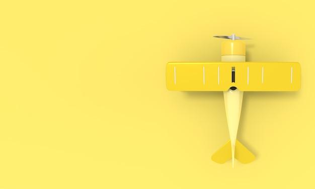 Игрушечный винтажный самолет. иллюстрация с местом для текста. 3d рендеринг