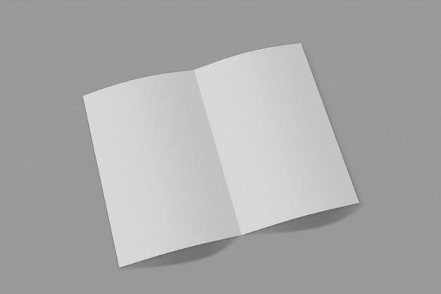 モックアップ垂直小冊子、パンフレット、ソフトカバーとリアルな影の灰色の背景に分離された招待状。 3dレンダリング。
