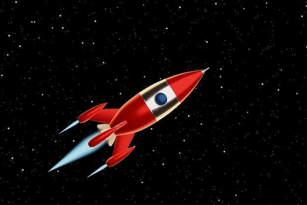 星空の背景におもちゃの宇宙ロケットの赤と白の色が飛んでいます。サイエンスフィクションのイラスト。 3dレンダリング。