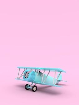 おもちゃのヴィンテージ航空機。テキストのための空の場所のイラスト。垂直方向。 3dレンダリング