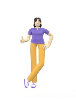 Характер перевода 3d азиатского большого пальца руки девушки вверх. концепция успеха, хорошо, понравилось, победа, удача.