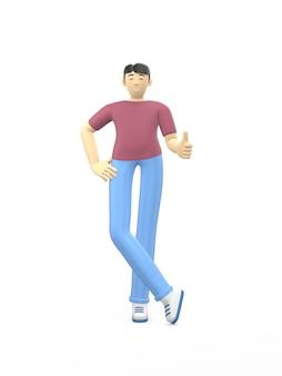 Характер перевода 3d азиатского парня вручает большой палец руки вверх. концепция успеха, хорошо, понравилось, победа, удача.