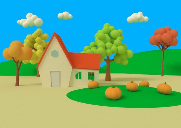 カボチャのフィールドの家。 3dレンダリング。