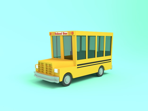 Мультяшный школьный автобус желтый 3d-рендеринга