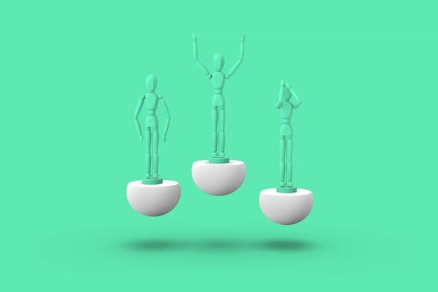 Три игрушечный человек зеленого цвета на спортивном абстрактном постаменте. 3d визуализация.