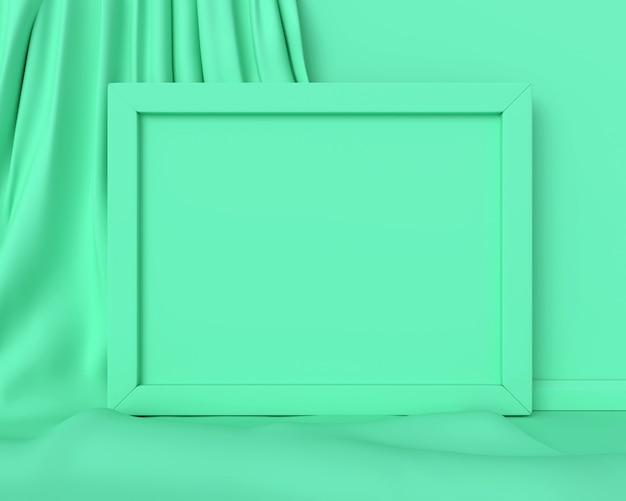 水平の緑のフレーム。 3dレンダリング。
