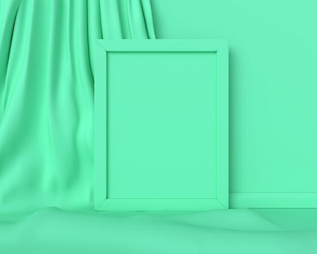 垂直の緑のフレーム。 3dレンダリング。