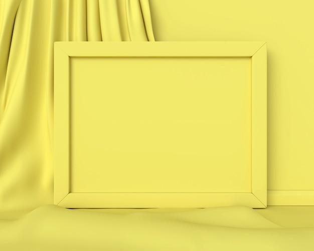 水平の黄色のフレーム。 3dレンダリング。