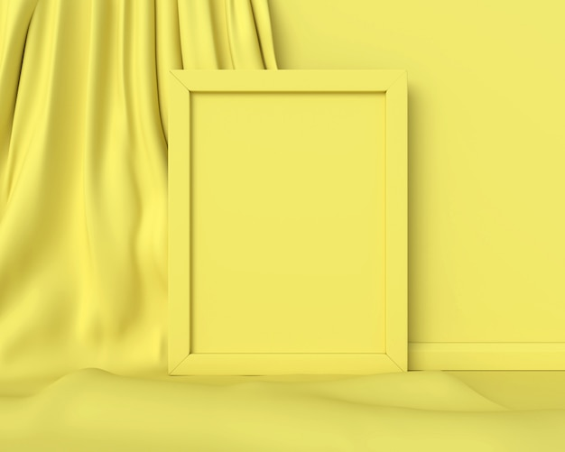 黄色の布に黄色のフレーム。 3dレンダリング。