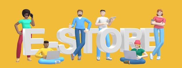 Группа в составе молодые многонациональные успешные люди с магазином компьтер-книжки, таблетки, телефона и слова, магазином на желтой стене. мультипликационный персонаж и текстовый слоган сайта. 3d-рендеринг.