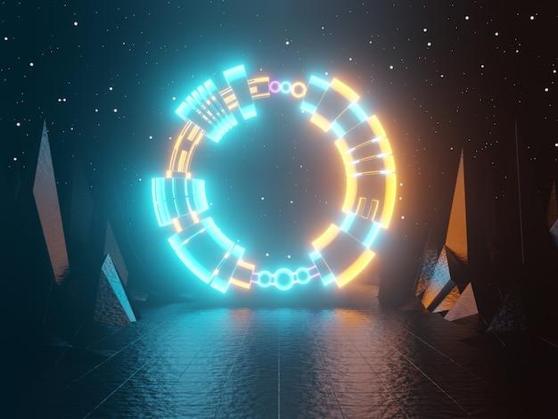 Неоновые светящиеся ворота портала вход абстрактный зеленый и оранжевый фон 3d-рендеринг