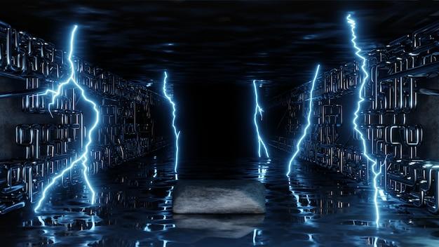 Яркие неоновые вспышки электричества молнии 3d-рендеринга