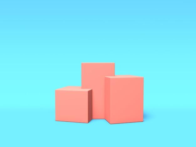 青の背景に表彰台、台座またはプラットフォームのピンク色。単純な幾何学的形状の抽象的なイラスト。 3dレンダリング。