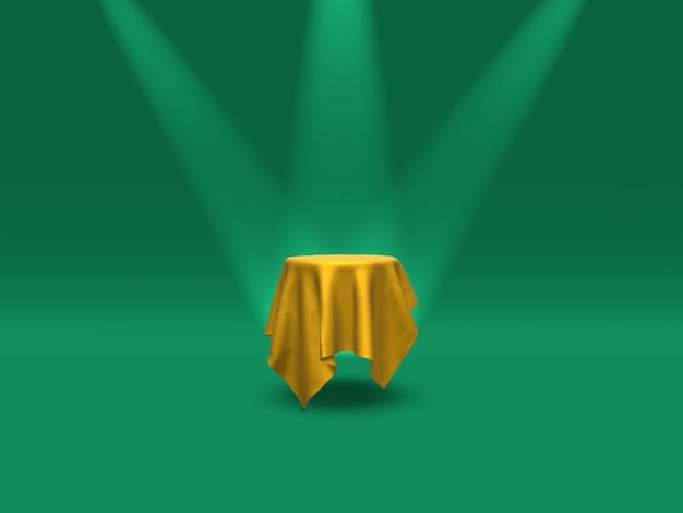 表彰台、台座またはプラットフォームは、緑の背景にスポットライトで照らされた金の布で覆われています。単純な幾何学的形状の抽象的なイラスト。 3dレンダリング。