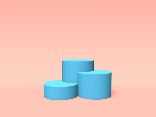 ピンクの背景に表彰台、台座またはプラットフォームの青い色。単純な幾何学的形状の抽象的なイラスト。 3dレンダリング。