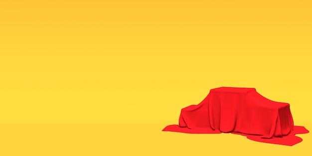 表彰台、台座またはプラットフォームは、黄色の背景に赤い布で覆われています。単純な幾何学的形状の抽象的なイラスト。 3dレンダリング。