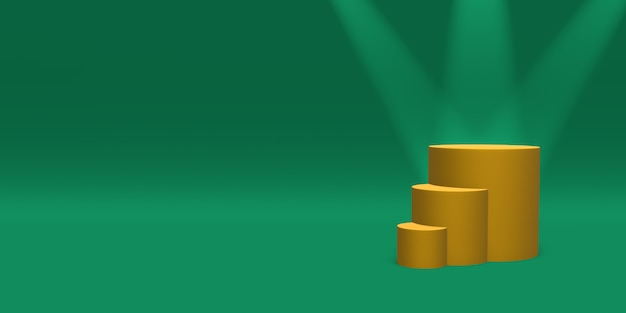 緑の背景にスポットライトで照らされた表彰台、台座またはプラットフォームのゴールド色。単純な幾何学的形状の抽象的なイラスト。 3dレンダリング。