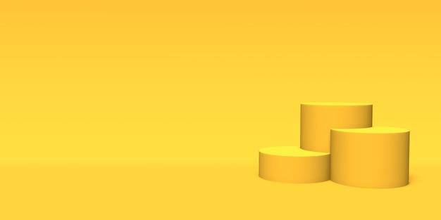 黄色の背景に表彰台、台座またはプラットフォームのゴールド色。単純な幾何学的形状の抽象的なイラスト。 3dレンダリング。