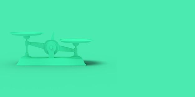 Зеленые весы на зеленом фоне. абстрактное синее цветное изображение. минимальная концепция бизнеса. 3d визуализация.