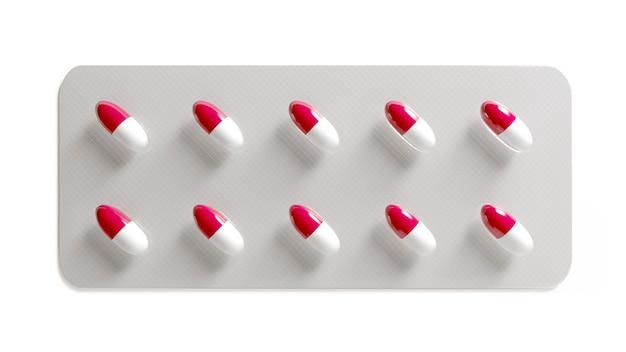Таблетки на белой поверхности. упаковка таблеток. лекарство от вируса. капсула с витаминами или биодобавками. 3d иллюстрация