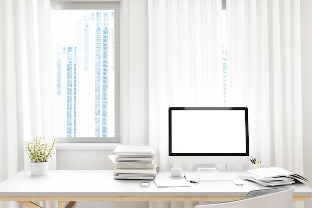 Вид спереди рабочей площадки с пустым белым экраном компьютера, чашкой кофе и книгой на дому. макет,. 3d-рендер