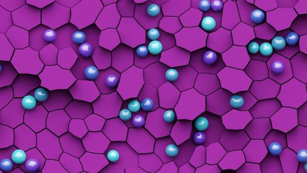 Абстрактная геометрическая мозаика в розовом цвете. 3d-рендеринг