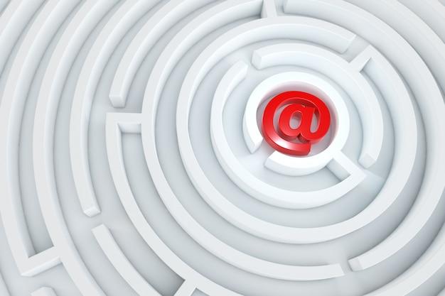 白い迷路の中心にある赤いメールアイコン。3dのレンダリング。