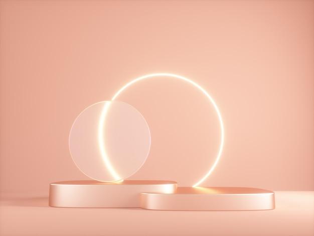 ネオン輝く3dプラットフォームと透明なガラスリング。