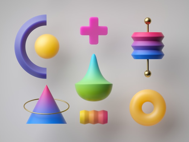 3d представляют, абстрактные красочные геометрические формы. минимальная современная концепция, разнообразная коллекция элементов дизайна, игра-головоломка, яркие неоновые градиентные игрушки, постмодернистский стиль