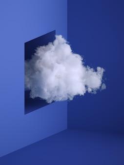 3d представляют, белое пушистое облако летая вне окно, отверстие в стене. минимальный интерьер комнаты.