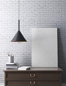 テーブル、ポスター、シーリングランプ、白いレンガの壁のポスターと現代的なインテリア。 3dレンダリング。
