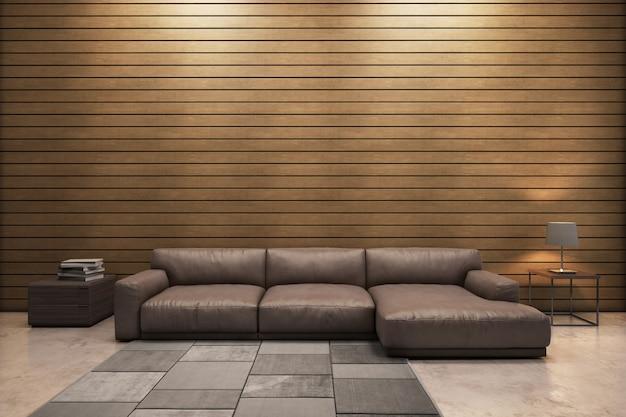 木製パネル壁の現代的なリビングルームのソファ、サイドデスク、ランプ、カーペット。3dレンダリング