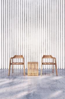 Деревянный стул на голом бетонном полу с белой перегородкой. 3d рендеринг