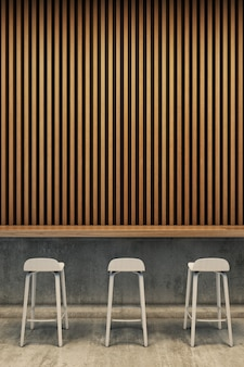 Интерьер спальни, кровать и тумбочка с деревянной панельной стеной. 3d рендеринг