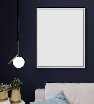 Макет плаката или фоторамка в современном минималистском интерьере фоне, скандинавском стиле, 3d иллюстрации