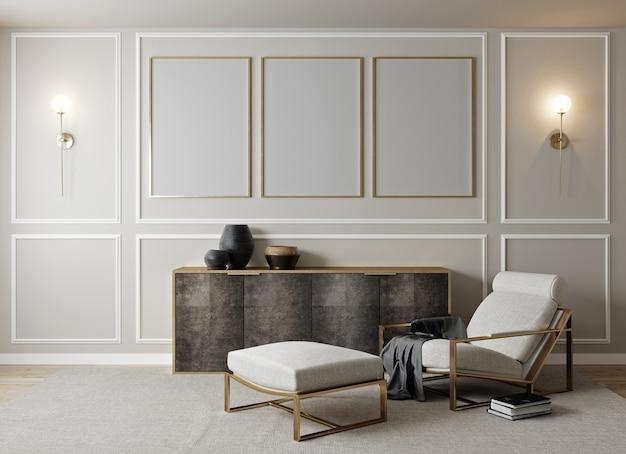 Современный интерьер, естественный фон комнаты пастельных цветов с макетом плаката, 3d-рендеринга