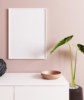 装飾が施されたモックアップポスターをクローズアップ、ピンクの壁の背景。北欧スタイル。 3dレンダリング