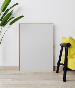 Макет интерьера дома с желтым диваном и растений в зеленой гостиной, 3d-рендеринга