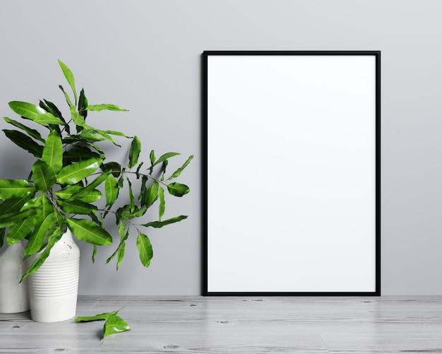 Рамка для плаката в современном интерьере, скандинавский стиль, 3d-рендеринг
