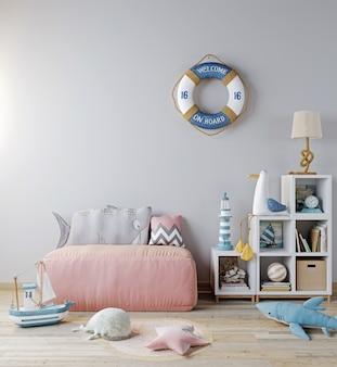 子供部屋のインテリアの背景、ピンクのソファ、おもちゃのモックアップ。スカンジナビアスタイル、海スタイル、3dレンダリング