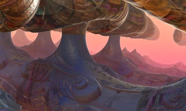 Фантастический лес гигантских грибов. 3d иллюстрации.