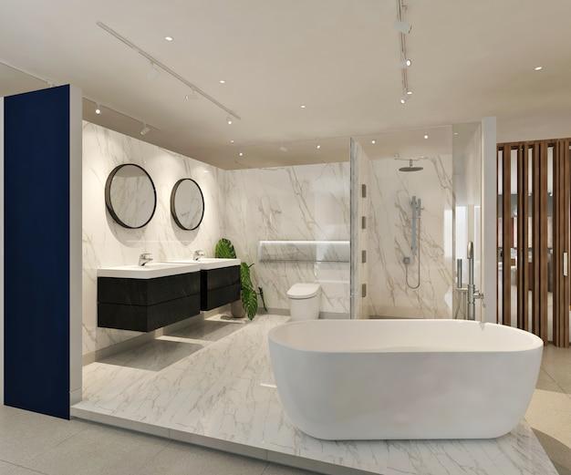 モダンなバスルームのショールームのインテリア。 3dイラスト