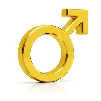 Мужской символ 3d визуализации. золотой мужской символ, изолированные на белом фоне.
