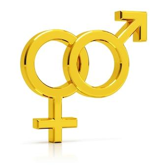 Гетеросексуальный символ 3d представляет. золотой гетеросексуальный символ, изолированных на белом фоне.