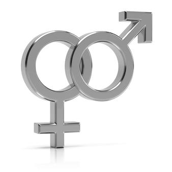 Гетеросексуальный символ 3d представляет. серебряный гетеросексуальный символ, изолированных на белом фоне.