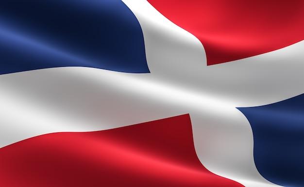 ドミニカ共和国の国旗。ドミニカ共和国の旗の波の3dの図像。