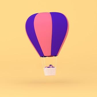 Минимальная концепция плавающих воздушных шаров с подарком в корзине. 3d-рендеринг.