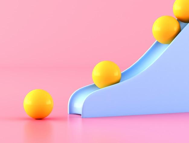 ピンクの壁に青いスライダー付きの黄色のボールの最小限。 3dレンダリング。