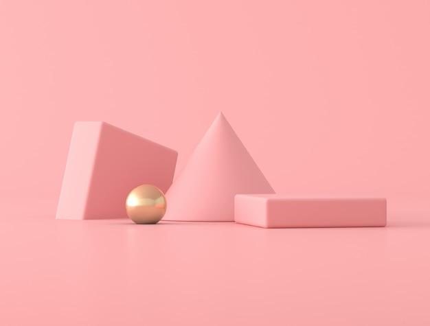 ピンク色の背景にジオメトリオブジェクト、金球と最小限の抽象的なシーン。 3dレンダリング。